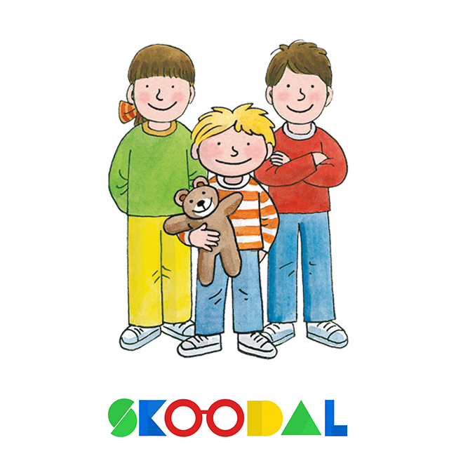 Biff, chip and kipper characters standing and smiling above skoodal logo