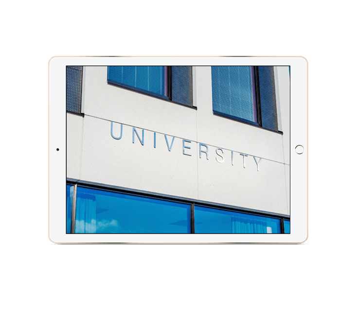 Photo of generic university building shown on an iPad