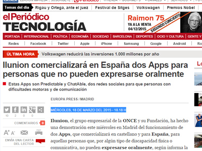 Ilunion comercializará en España dos Apps para personas que no pueden expresarse oralmente