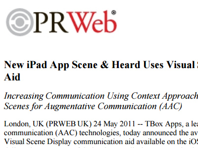MNew iPad App Scene & Heard Uses Visual Scene Display as Communication Aid