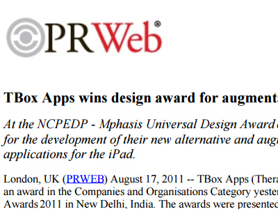 TBox Apps wins design award for augmentative communication iPad apps