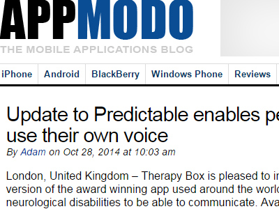 Update to Predictable enables people with MND/ALS to use their own voice